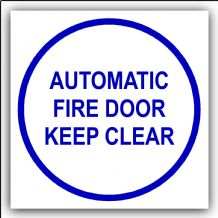 1 x Automatic Fire Door Keep Clear-87mm,Blue on White-Health and Safety Security Door Warning Sticker Sign-87mm,Blue on White-Health and Safety Security